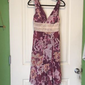FP floral V neck hi low dress. 6